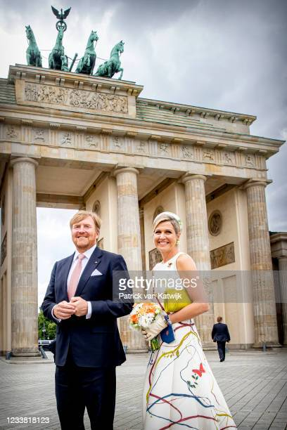 King Willem-Alexander and Queen Maxima of The Netherlands visits the Brandenburger Tor on July 5, 2021 in Berlin, Germany. Their Majesties are paying...