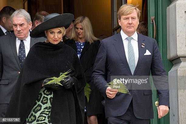 King WillemAlexander and Queen Maxima of the Netherlands walk out to lay a fern on the Tomb of the Unkown Warrior at the National War Memorial on...