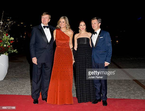 King WillemAlexander and Queen Maxima of the Netherlands with Crown Princess Mary and Crown Prince Frederik of Denmark at The Black Diamond in...