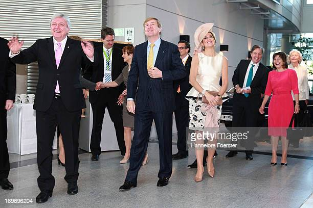 King WillemAlexander and Queen Maxima of The Netherlands with Volker Bouffier Ministerpresident of the German state of Hesse during a visit to the...