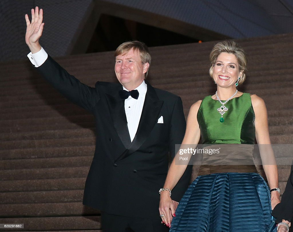 King Willem-Alexander and Queen Maxima pose for a photograph as they arrive to a concert at the Opera House on November 02, 2016 in Sydney, Australia. The Dutch King and Queen are in Australia to commemorate the 400th anniversary of the landing of Dutch explorer Dirk Hartog in Western Australia.