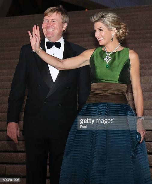 King WillemAlexander and Queen Maxima pose for a photograph as they arrive to a concert at the Opera House on November 02 2016 in Sydney Australia...