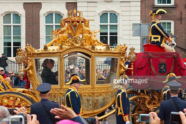 king willem-alexander and queen máxima in the golden carriage - prinsjesdag stock photos and pictures