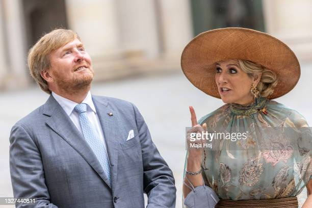 King Willem-Alexander and Queen Máxima of the Netherlands pose for a photo at Humboldt Forum on July 07, 2021 in Berlin, Germany. Their Royal...