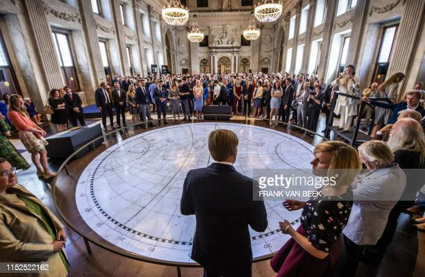 """King Willem-Alexander attends the opening of the exhibition """"Universe of Amsterdam, Treasures from the Golden Age of cartography"""" in the Royal Palace..."""
