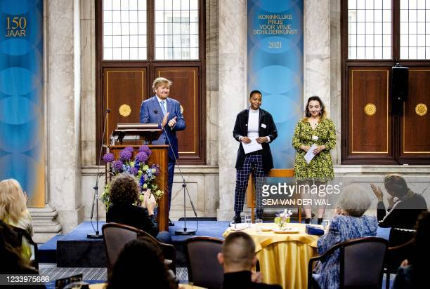 King Willem-Alexander attends the presentation of the Royal Prize for Free Painting 2021 with the winners, in the Royal Palace, in Amsterdam, on July...