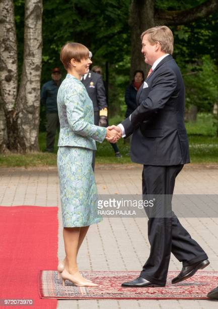King WillemAlexander of Netherlands and Estonian president Kersti Kaljulaid shake hands during a meeting at Kadriorg palace in Tallinn Estonia on...