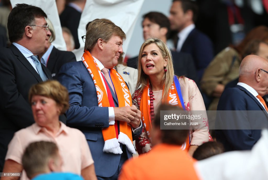 King Willem-Alexander of Netherlands and Queen Maxima during the UEFA Women's Euro 2017 Group A match between Netherlands and Norway at Stadion Galgenwaard on July 16, 2017 in Utrecht, Netherlands.