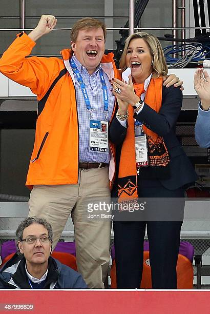 King Willem-Alexander of Netherlands and Queen Maxima of Netherlands celebrate the three medals for Netherlands at the Men's Speed Skating 5000m...