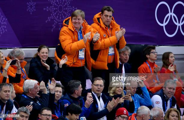 King Willem-Alexander of the Netherlands and below him Princess Anne of Great Britain attend the short-track events during the 2018 Winter Olympic...