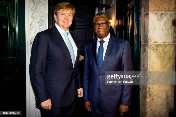 King WillemAlexander of The Netherlands and Dr Denis Mukwege during the Dr Denis Mukwege Symposium in the Nieuwe Kerk on November 28 2018 in The...
