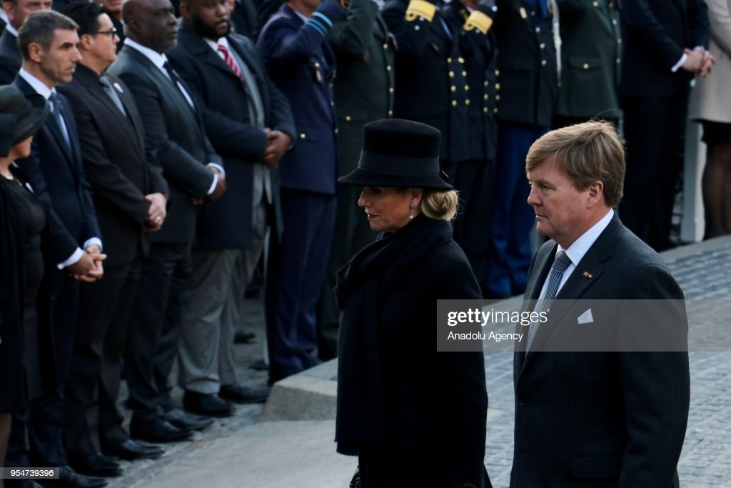 King Willem-Alexander (R) of The Netherlands (R) and Dutch Queen Maxima (2nd R) attend the Remembrance Day in tribute to the victims of World War II at Dam Square in Amsterdam, Netherlands on May 4, 2018.