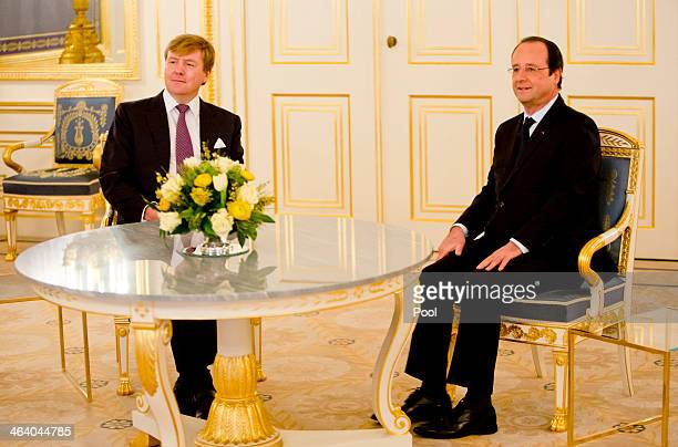 King Willem-Alexander of The Netherlands and French President Hollande meet at the Noordeinde Palace during an official visit on January 20, 2014 in...
