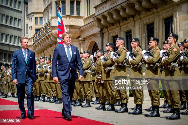 King WillemAlexander of The Netherlands and Grand Duke Henri of Luxembourg during an official farewell ceremony at the Grand Ducal Palace of...