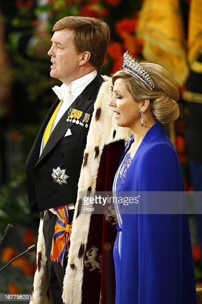 King WillemAlexander of the Netherlands and HM Queen Maxima of the Netherlands attend their inauguration ceremony at New Church on April 30 2013 in...