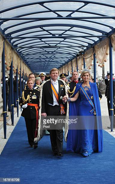 King WillemAlexander of the Netherlands and HM Queen Maxima of the Netherlands leave following the inauguration ceremony at New Church on April 30...
