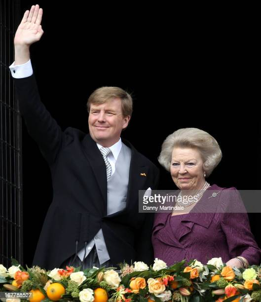King Willem-Alexander of the Netherlands and HRH Princess Beatrix Of The Netherlands appear on the balcony of The Royal Palace after the abdication...