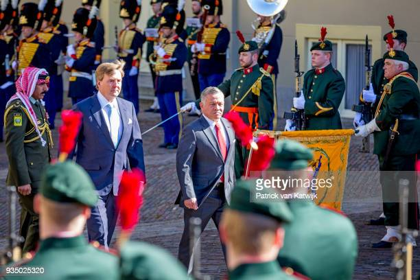 King WillemAlexander of The Netherlands and King Abdullah of Jordan during an official welcome ceremony for the King and Queen of Jordan at Palace...