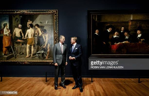 King Willem-Alexander of the Netherlands and King Felipe VI of Spain attend the opening of the Rembrandt-Velazquez exhibition at the Rijksmuseum in...