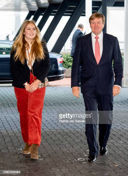 King Willem-Alexander of The Netherlands and Princess Amalia of The Netherlands visit the Dressage World Cup at Jumping Amsterdam on January 27, 2019...