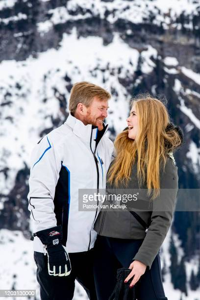King WillemAlexander of The Netherlands and Princess Amalia of The Netherlands during the annual photo call on February 25 2020 in Lech Austria