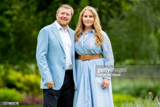 King Willem-Alexander of The Netherlands and Princess Amalia of The Netherlands during the annual summer photocall at their residence Palace Huis ten...