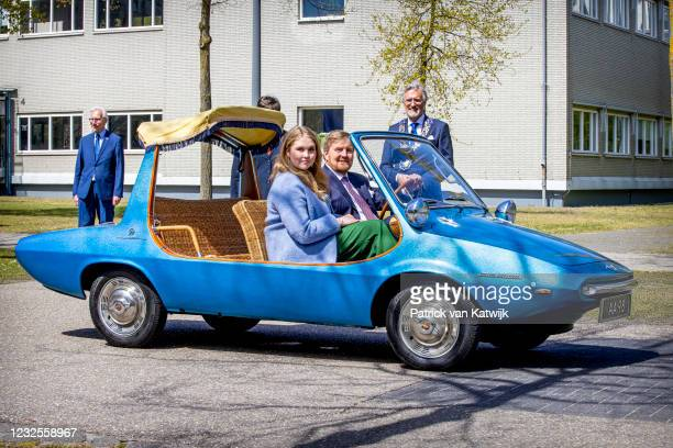 King Willem-Alexander of The Netherlands and Princess Catharina-Amalia drive in a car during the Kingsday Celebration on April 27, 2021 in Eindhoven,...