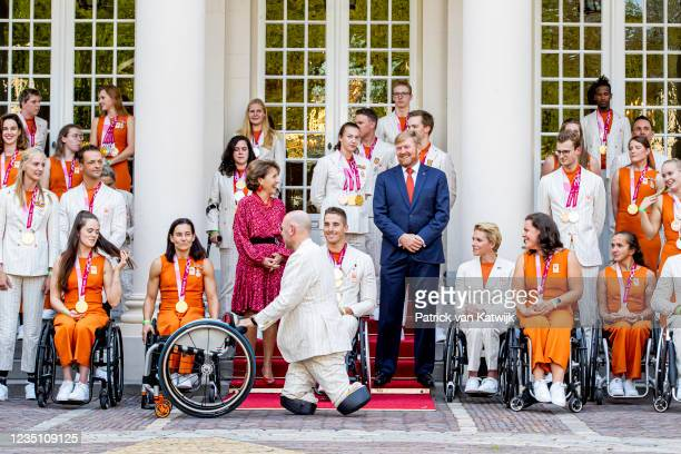 King Willem-Alexander of The Netherlands and Princess Margriet of The Netherlands welcome the Paralympic Games medal winners at Palace Noordeinde on...