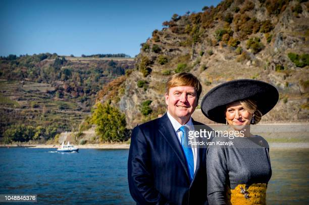 King WillemAlexander of the Netherlands and Queen Maxima of The Netherlands during a cruise at the Rhine river on October 10 2018 in Oberwesel Germany