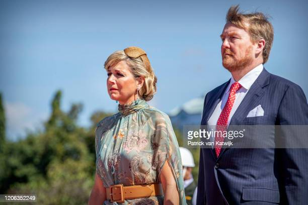 King WillemAlexander of The Netherlands and Queen Maxima of The Netherlands during a wreath laying ceremony at the remembrance field Kalibata on...