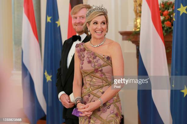 King Willem-Alexander of The Netherlands and Queen Maxima of The Netherlands attend a banquet at Bellevue Palace on July 5, 2021 in Berlin, Germany....