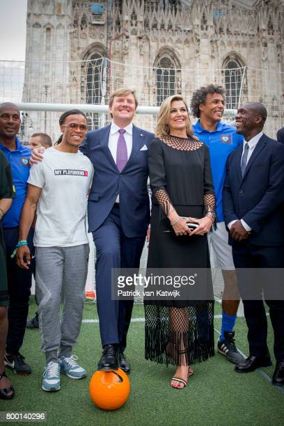 King WillemAlexander of The Netherlands and Queen Maxima of The Netherlands attend a soccer clinic with dutch former players Clarence Seedor Aaron...
