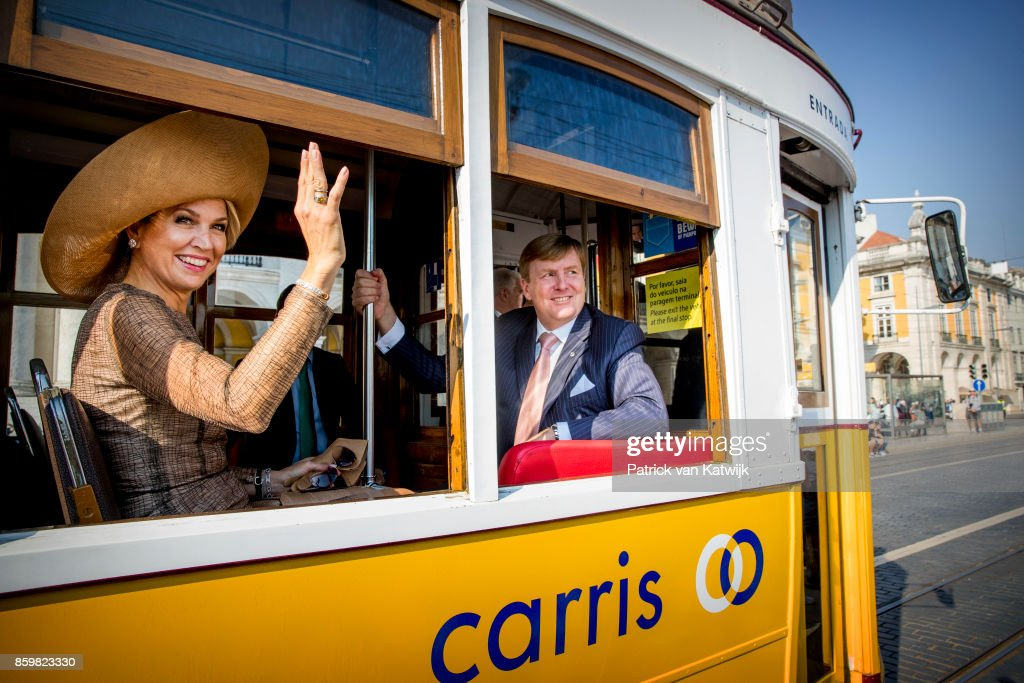 King Willem-Alexander of The Netherlands and Queen Maxima of The Netherlands during a trim ride on October 10, 2017 in Lisboa CDP, Portugal.