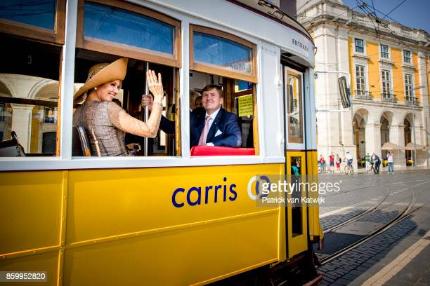 King WillemAlexander of The Netherlands and Queen Maxima of The Netherlands during a trim ride on October 10 2017 in Lisboa CDP Portugal