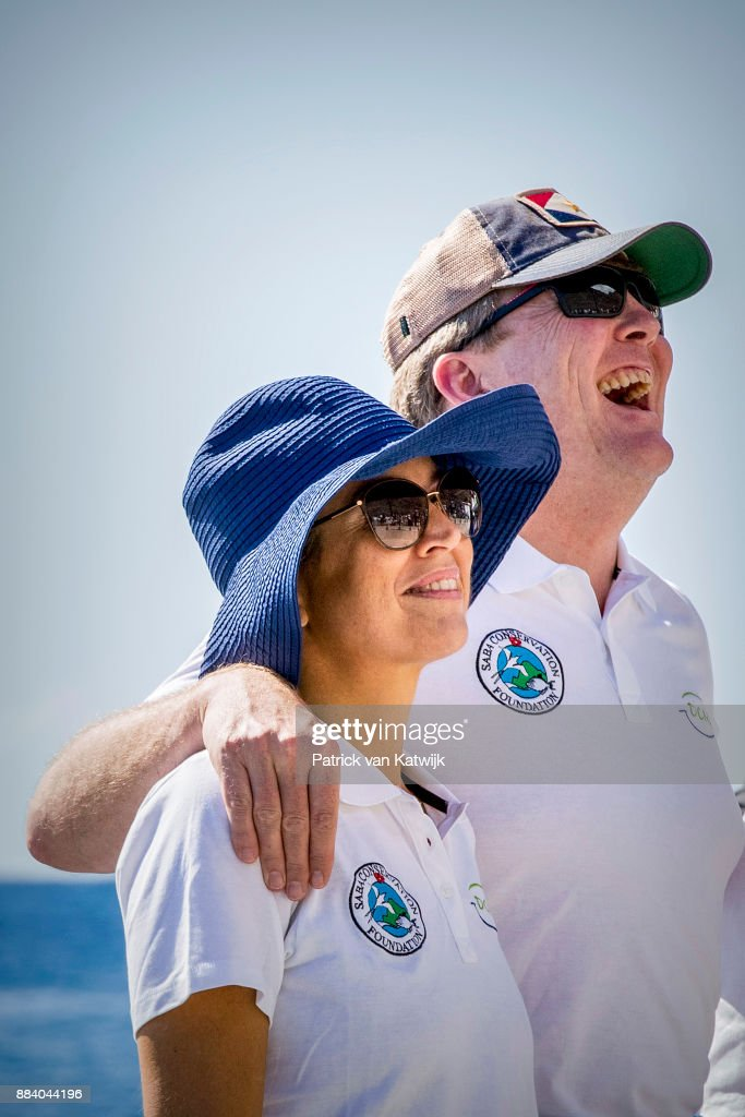 King Willem-Alexander of The Netherlands and Queen Maxima of The Netherlands during a diving experience at Saba Day on December 01, 2017 in The Bottom, Saba.