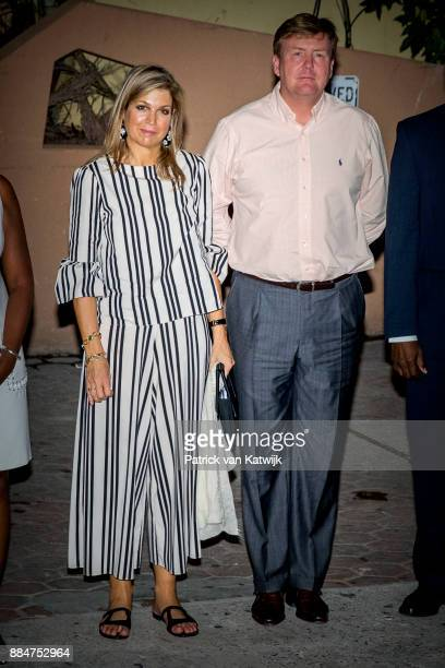 King Willem-Alexander of The Netherlands and Queen Maxima of The Netherlands attend a dinner at the Le Moulin Fou restaurant on December 02, 2017 in...