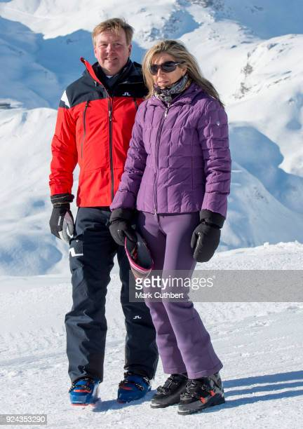 King WillemAlexander of the Netherlands and Queen Maxima of the Netherlands attend a photocall during a skiing trip on February 26 2018 in Lech...