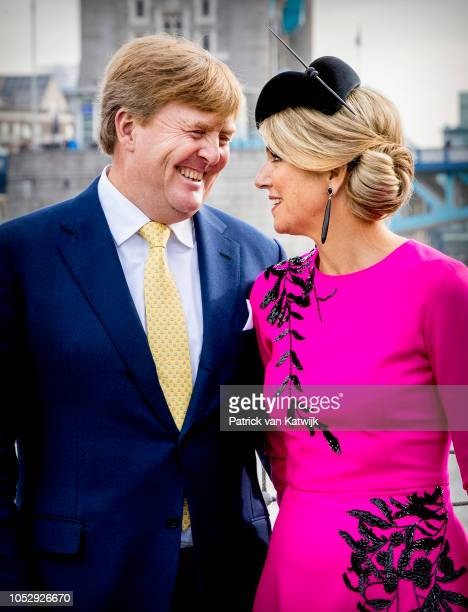 King Willem-Alexander of The Netherlands and Queen Maxima of The Netherlands during an demonstration of Dutch and British Navy cooperation at the...