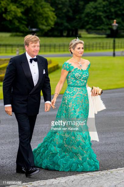 King Willem-Alexander of The Netherlands and Queen Maxima of The Netherlands during an official state banquet offered by President Michael Higgins of...