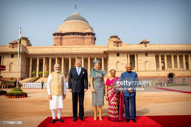 King WillemAlexander of The Netherlands and Queen Maxima of The Netherlands during an official welcome ceremony with President Ram Nath Kovind and...