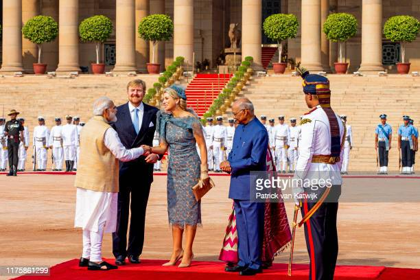 King Willem-Alexander of The Netherlands and Queen Maxima of The Netherlands during an official welcome ceremony with President Ram Nath Kovind and...
