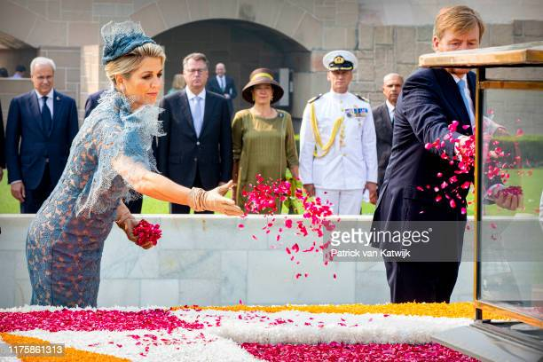 King WillemAlexander of The Netherlands and Queen Maxima of The Netherlands during an official wreath laying ceremony at the Ghandi Monument on...