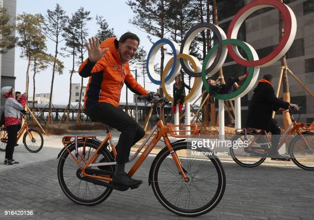 King Willem-Alexander of the Netherlands and Queen Maxima of the Netherlands and Prime Minister Mark Rutte visit the Gangneung Athletes Village on...