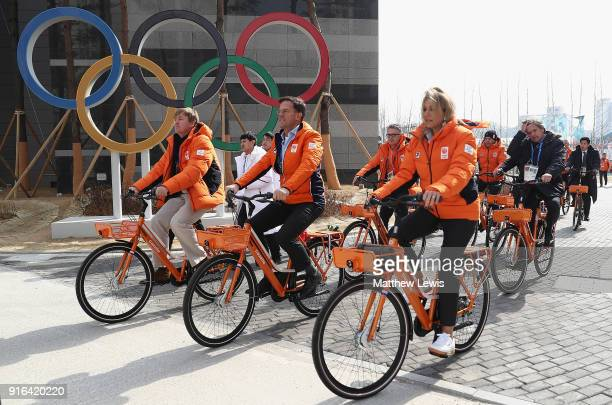 King WillemAlexander of the Netherlands and Queen Maxima of the Netherlands and Prime Minister Mark Rutte visit the Gangneung Athletes Village on...
