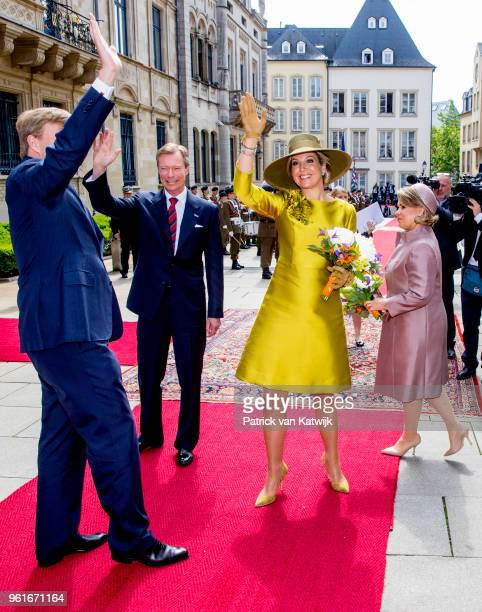 King Willem-Alexander of The Netherlands and Queen Maxima of The Netherlands are welcomed by Grand Duke Henri and Grand Duchess Maria Teresa of...