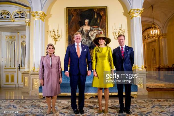 King Willem-Alexander of The Netherlands and Queen Maxima of The Netherlands are welcomed by Grand Duke Henri of Luxembourg and Grand Duchess Maria...