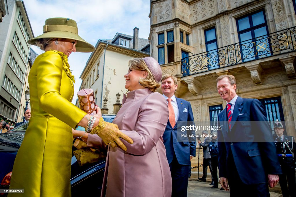 King Willem-Alexander of The Netherlands and Queen Maxima of The Netherlands are welcomed by Grand Duke Henri and Grand Duchess Maria Teresa at the Grand Ducal Palace on May 23, 2018 in Luxembourg, Luxembourg. The Dutch King and Queen are in Luxembourg for an three day state visit