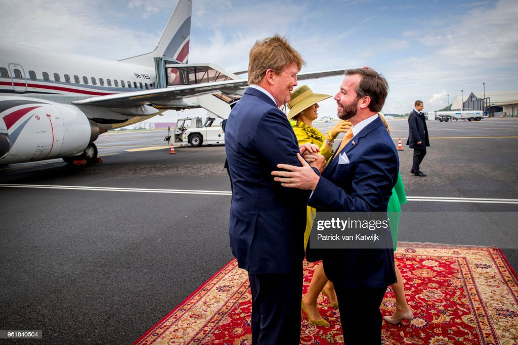 King Willem-Alexander of The Netherlands and Queen Maxima of The Netherlands are welcomed by Hereditary Grand Duke Guillaume and Hereditary Grand Duchess Stephanie at the airport of Luxembourg on May 23, 2018 in Luxembourg, Luxembourg. The Dutch King and Queen are in Luxembourg for an three day state visit