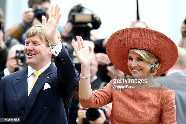 King Willem-Alexander of The Netherlands and Queen Maxima of The Netherlands at a meeting with president Joachim Gauck at Bellevue Palace on June 3,...