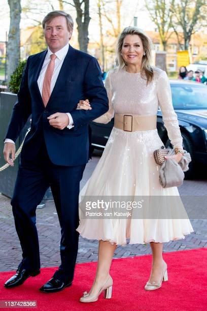 King WillemAlexander of The Netherlands and Queen Maxima of The Netherlands arrive at Theater De Flint for the Kingsday Concert on April 15 2019 in...